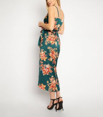 Another Look Green Floral Wrap Dress New Look