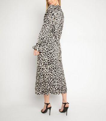 Another Look Black Leopard Print Midi Dress New Look