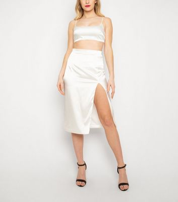 New Age Rebel White Satin Crop Top New Look