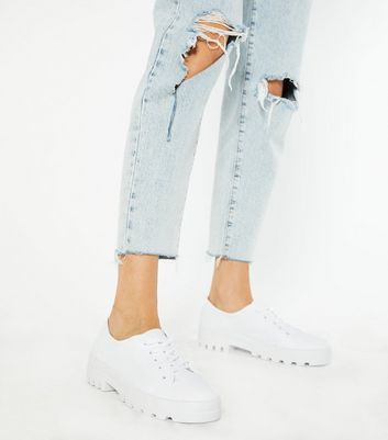 White Canvas Chunky Lace Up Trainers