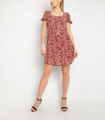 Click to view product details and reviews for Gini London Rust Spot Square Neck Dress New Look.