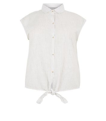Wednesday's Girl Curves White Cotton Stripe Shirt New Look