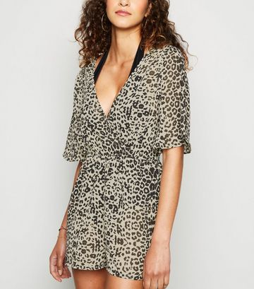 Influence Brown Leopard Wrap Beach Playsuit