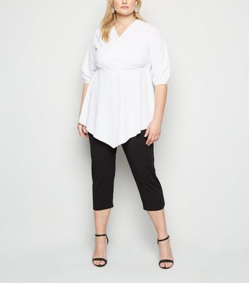 Just Curvy Black Pleated Crop Trousers New Look