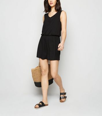 JDY Black Crochet Embroidered Jersey Playsuit New Look