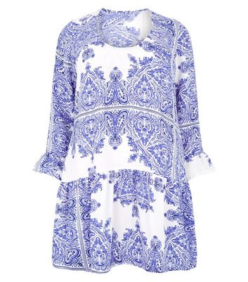 Vero Moda Curves Blue Paisley Dress New Look