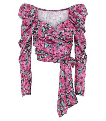 Honey Behave Pink Floral Puff Sleeve Wrap Top New Look