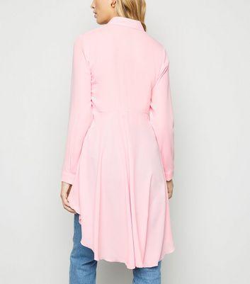Honey Behave Pale Pink Ruffle Dip Hem Shirt New Look