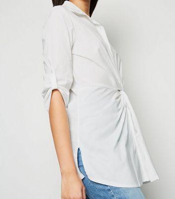 Honey Behave White Twist Front Shirt Dress New Look