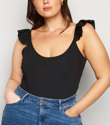 Vero Moda Curves Black Frill Bodysuit New Look