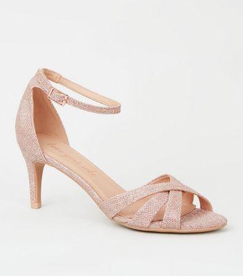 Rose Gold Glitter Mid Stiletto Heels