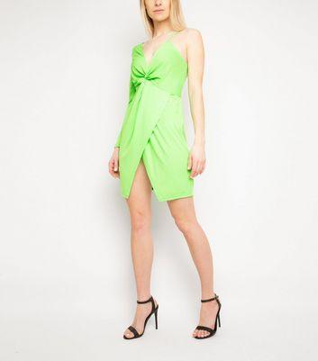 Miss Attire Green Neon One Shoulder Dress New Look