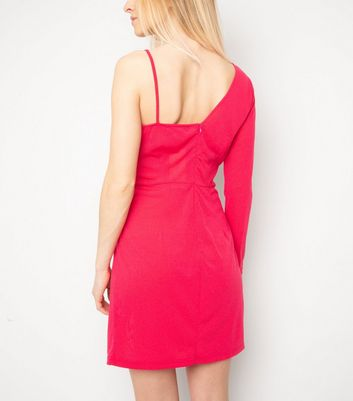 Miss Attire Bright Pink One Shoulder Dress New Look