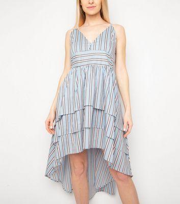 Miss Attire Pale Blue Stripe Tiered Dip Hem Dress New Look