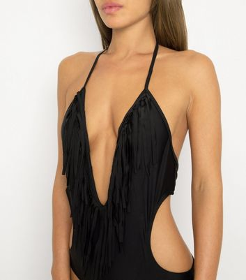 Black Velvet Black Tassel Plunge Neck Swimsuit Add to Saved Items Remove from Saved Items