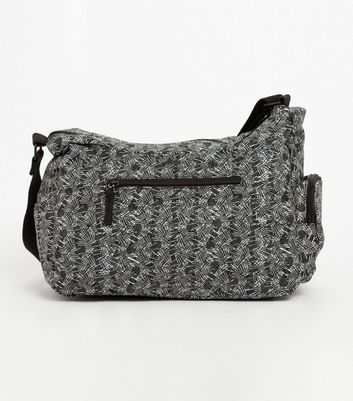 Artsac Black Line Print Large Cross Body Bag New Look