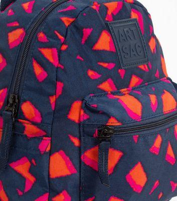 Artsac Navy Geometric Print Backpack New Look
