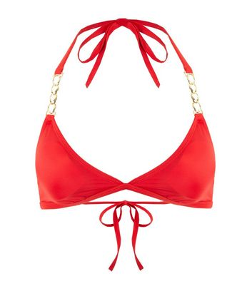 Wolf & Whistle Red Chain Triangle Bikini Top Add to Saved Items Remove from Saved Items