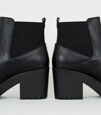 black platform block heel boots