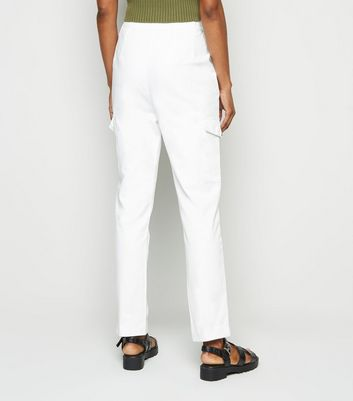 Innocence White Utility Pocket Trousers New Look
