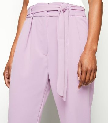 Innocence Lilac High Tie Waist Trousers New Look