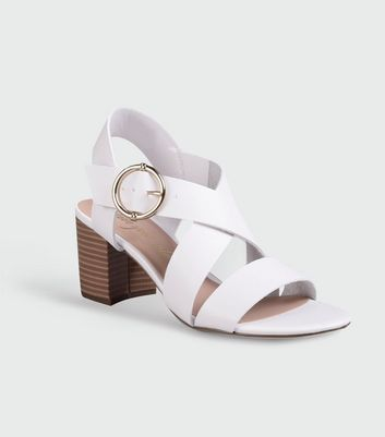 White Leather-Look Strappy Block Heel