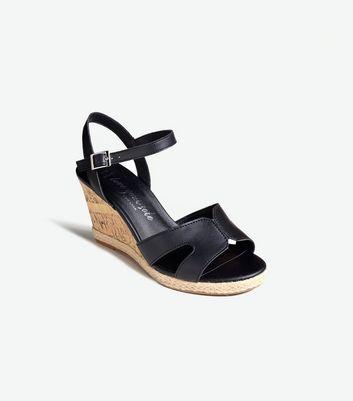Wide Fit Black Leather-Look Cork Wedges