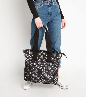 Artsac Black Geometric Front Pocket Tote New Look