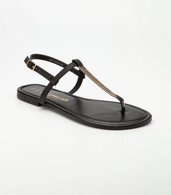 Wide Fit Black Embellished Flat Sandals