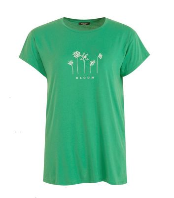 curves green bloom floral slogan t-shirt new look