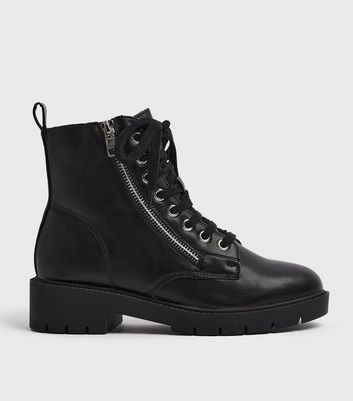 Lace Up Chunky Biker Boots   New Look