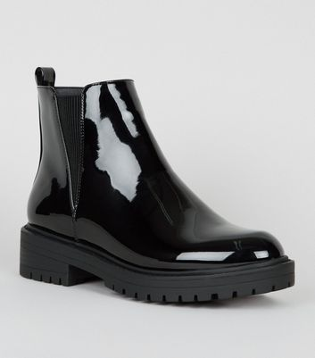 Black Patent Chunky Cleated Chelsea