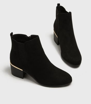 Wide Fit Black Suedette Mid Heel Ankle