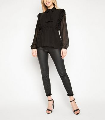 JUSTYOUROUTFIT Black Ruffle Blouse New Look