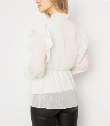 JUSTYOUROUTFIT White Ruffle Blouse New Look