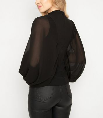 JUSTYOUROUTFIT Black Puff Sleeve Top New Look