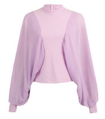 JUSTYOUROUTFIT Lilac Puff Sleeve Top New Look