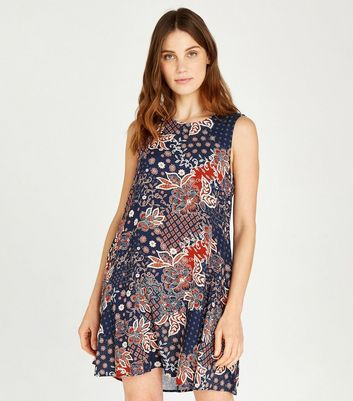 Click to view product details and reviews for Apricot Blue Floral Tile Print Skater Dress New Look.