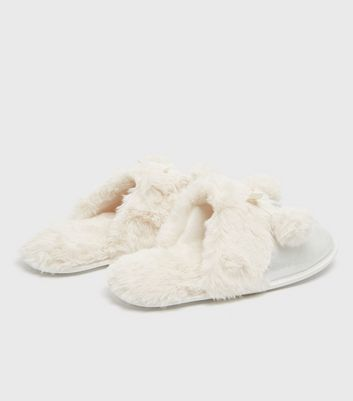 shop for Silver Metallic Faux Fur Lined Mule Slippers New Look Vegan at Shopo