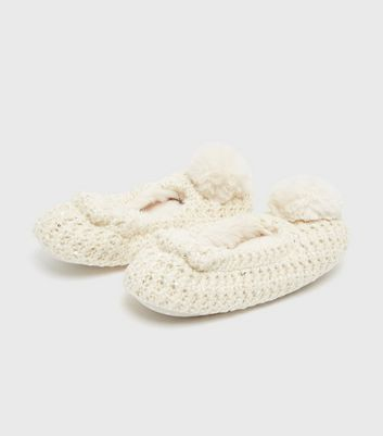 shop for Off White Pom Pom Sequin Ballet Slippers New Look at Shopo