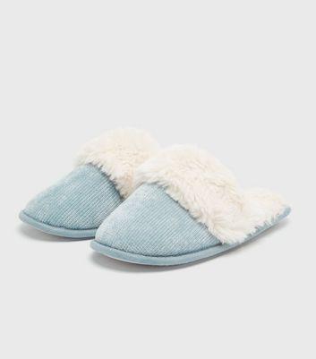 shop for Pale Blue Chenille Faux Fur Mule Slippers New Look Vegan at Shopo