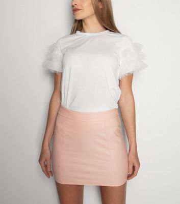 21st Mill Pink Leather-Look Mini Skirt New Look