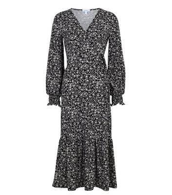 Click to view product details and reviews for Blue Vanilla Black Floral Shirred Cuff Wrap Dress New Look.