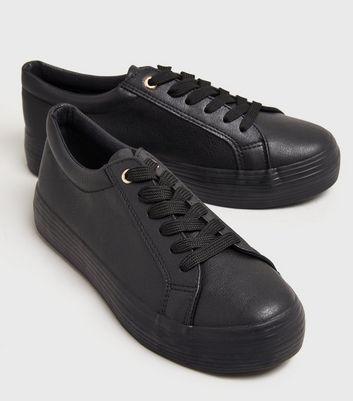 Girls Black Leather-Look Flatform