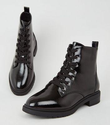 Wide Fit Black Patent Lace Up Boots