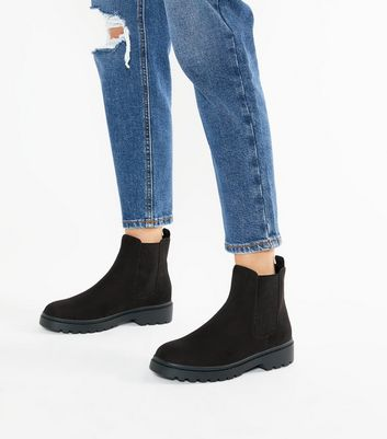 Wide Fit Black Suedette Chunky Chelsea