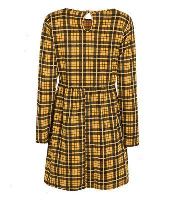 Wednesday's Girl Mustard Check Mini Dress New Look