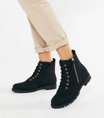 Wide Fit Black Suedette Lace Up Ankle