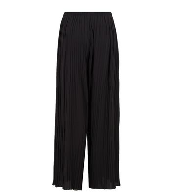 Honey Behave Black Pleated Crop Wide Leg Trousers New Look