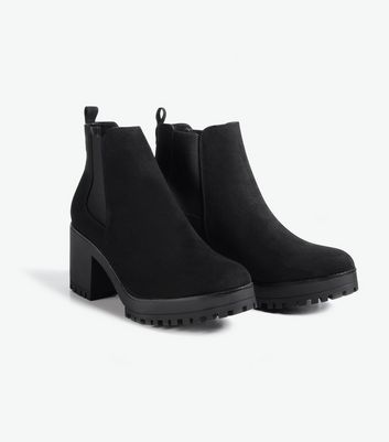 Black Suedette Chunky Block Heel